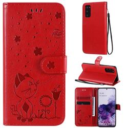 Embossing Bee and Cat Leather Wallet Case for Samsung Galaxy S20 - Red