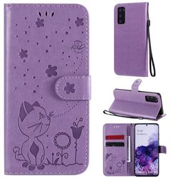 Embossing Bee and Cat Leather Wallet Case for Samsung Galaxy S20 - Purple