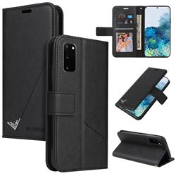GQ.UTROBE Right Angle Silver Pendant Leather Wallet Phone Case for Samsung Galaxy S20 - Black