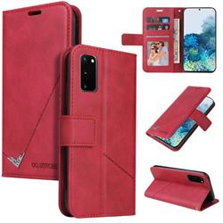 GQ.UTROBE Right Angle Silver Pendant Leather Wallet Phone Case for Samsung Galaxy S20 - Red