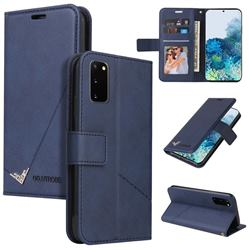 GQ.UTROBE Right Angle Silver Pendant Leather Wallet Phone Case for Samsung Galaxy S20 - Blue