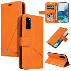 GQ.UTROBE Right Angle Silver Pendant Leather Wallet Phone Case for Samsung Galaxy S20 - Orange