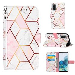 Pink White Stitching Color Marble Leather Wallet Case for Samsung Galaxy S20
