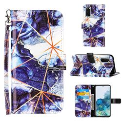 Starry Blue Stitching Color Marble Leather Wallet Case for Samsung Galaxy S20