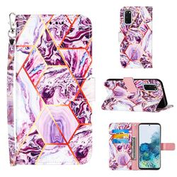 Dream Purple Stitching Color Marble Leather Wallet Case for Samsung Galaxy S20