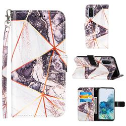 Black and White Stitching Color Marble Leather Wallet Case for Samsung Galaxy S20