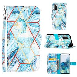Lake Blue Stitching Color Marble Leather Wallet Case for Samsung Galaxy S20