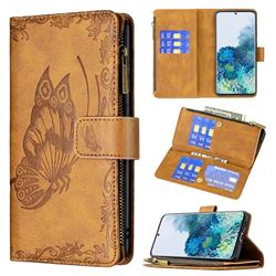 Binfen Color Imprint Vivid Butterfly Buckle Zipper Multi-function Leather Phone Wallet for Samsung Galaxy S20 - Brown
