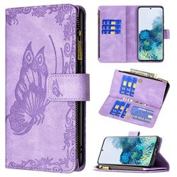 Binfen Color Imprint Vivid Butterfly Buckle Zipper Multi-function Leather Phone Wallet for Samsung Galaxy S20 - Purple