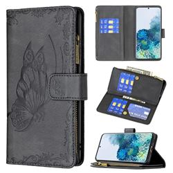 Binfen Color Imprint Vivid Butterfly Buckle Zipper Multi-function Leather Phone Wallet for Samsung Galaxy S20 - Black