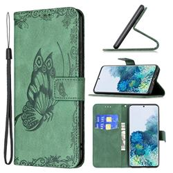 Binfen Color Imprint Vivid Butterfly Leather Wallet Case for Samsung Galaxy S20 - Green
