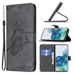 Binfen Color Imprint Vivid Butterfly Leather Wallet Case for Samsung Galaxy S20 - Black