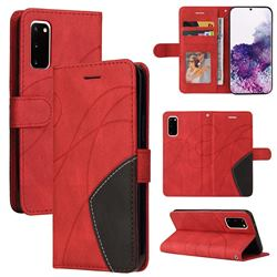 Luxury Two-color Stitching Leather Wallet Case Cover for Samsung Galaxy S20 - Red