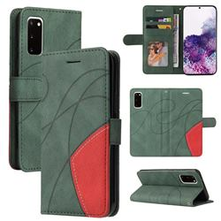 Luxury Two-color Stitching Leather Wallet Case Cover for Samsung Galaxy S20 - Green