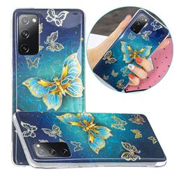 Golden Butterfly Painted Galvanized Electroplating Soft Phone Case Cover for Samsung Galaxy S20 FE / S20 Lite