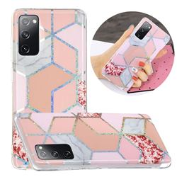 Pink Marble Painted Galvanized Electroplating Soft Phone Case Cover for Samsung Galaxy S20 FE / S20 Lite