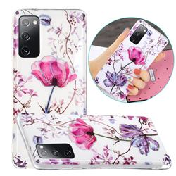 Magnolia Painted Galvanized Electroplating Soft Phone Case Cover for Samsung Galaxy S20 FE / S20 Lite