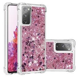 Dynamic Liquid Glitter Sand Quicksand Star TPU Case for Samsung Galaxy S20 FE / S20 Lite - Diamond Rose