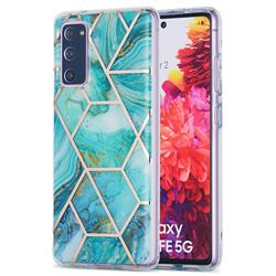 Blue Sea Marble Pattern Galvanized Electroplating Protective Case Cover for Samsung Galaxy S20 FE / S20 Lite