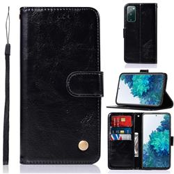 Luxury Retro Leather Wallet Case for Samsung Galaxy S20 FE / S20 Lite - Black