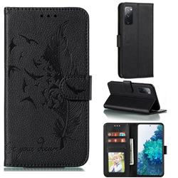 Intricate Embossing Lychee Feather Bird Leather Wallet Case for Samsung Galaxy S20 FE / S20 Lite - Black