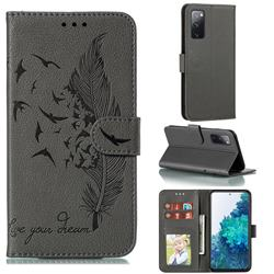 Intricate Embossing Lychee Feather Bird Leather Wallet Case for Samsung Galaxy S20 FE / S20 Lite - Gray