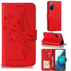 Intricate Embossing Lychee Feather Bird Leather Wallet Case for Samsung Galaxy S20 FE / S20 Lite - Red