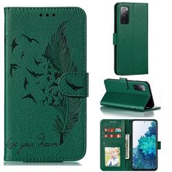 Intricate Embossing Lychee Feather Bird Leather Wallet Case for Samsung Galaxy S20 FE / S20 Lite - Green