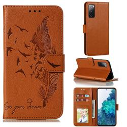 Intricate Embossing Lychee Feather Bird Leather Wallet Case for Samsung Galaxy S20 FE / S20 Lite - Brown