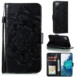 Intricate Embossing Datura Solar Leather Wallet Case for Samsung Galaxy S20 FE / S20 Lite - Black