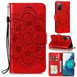 Intricate Embossing Datura Solar Leather Wallet Case for Samsung Galaxy S20 FE / S20 Lite - Red