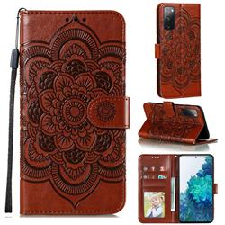 Intricate Embossing Datura Solar Leather Wallet Case for Samsung Galaxy S20 FE / S20 Lite - Brown