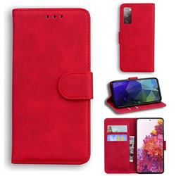 Retro Classic Skin Feel Leather Wallet Phone Case for Samsung Galaxy S20 FE / S20 Lite - Red