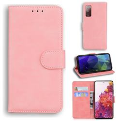 Retro Classic Skin Feel Leather Wallet Phone Case for Samsung Galaxy S20 FE / S20 Lite - Pink