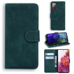 Retro Classic Skin Feel Leather Wallet Phone Case for Samsung Galaxy S20 FE / S20 Lite - Green