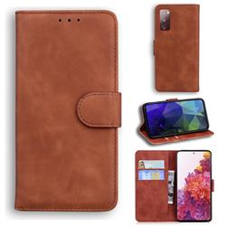 Retro Classic Skin Feel Leather Wallet Phone Case for Samsung Galaxy S20 FE / S20 Lite - Brown