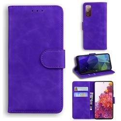 Retro Classic Skin Feel Leather Wallet Phone Case for Samsung Galaxy S20 FE / S20 Lite - Purple