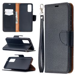 Classic Luxury Litchi Leather Phone Wallet Case for Samsung Galaxy S20 FE / S20 Lite - Black