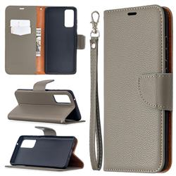 Classic Luxury Litchi Leather Phone Wallet Case for Samsung Galaxy S20 FE / S20 Lite - Gray