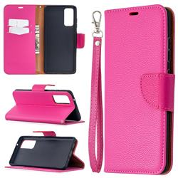 Classic Luxury Litchi Leather Phone Wallet Case for Samsung Galaxy S20 FE / S20 Lite - Rose