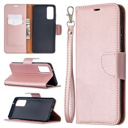 Classic Luxury Litchi Leather Phone Wallet Case for Samsung Galaxy S20 FE / S20 Lite - Golden