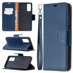 Classic Luxury Litchi Leather Phone Wallet Case for Samsung Galaxy S20 FE / S20 Lite - Blue