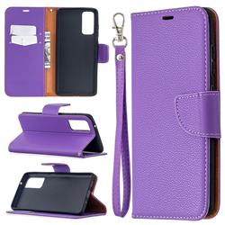 Classic Luxury Litchi Leather Phone Wallet Case for Samsung Galaxy S20 FE / S20 Lite - Purple