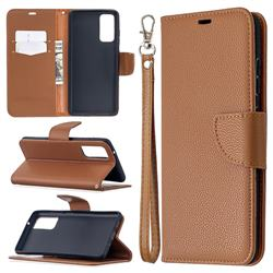 Classic Luxury Litchi Leather Phone Wallet Case for Samsung Galaxy S20 FE / S20 Lite - Brown