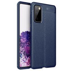 Luxury Auto Focus Litchi Texture Silicone TPU Back Cover for Samsung Galaxy S20 FE / S20 Lite - Dark Blue