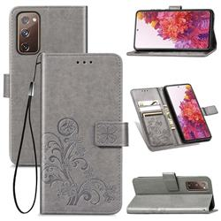 Embossing Imprint Four-Leaf Clover Leather Wallet Case for Samsung Galaxy S20 FE / S20 Lite - Grey