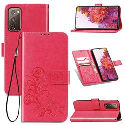 Embossing Imprint Four-Leaf Clover Leather Wallet Case for Samsung Galaxy S20 FE / S20 Lite - Rose Red