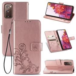Embossing Imprint Four-Leaf Clover Leather Wallet Case for Samsung Galaxy S20 FE / S20 Lite - Rose Gold