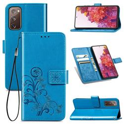 Embossing Imprint Four-Leaf Clover Leather Wallet Case for Samsung Galaxy S20 FE / S20 Lite - Blue