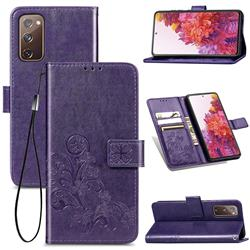 Embossing Imprint Four-Leaf Clover Leather Wallet Case for Samsung Galaxy S20 FE / S20 Lite - Purple